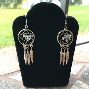 Boho wire wrap quartz dream catcher earrings